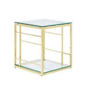 Nowak Glass Lamp Table Square In Clear With Gold Frame