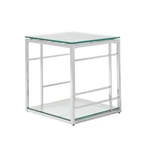 Nowak Glass Lamp Table Square In Clear With Silver Frame