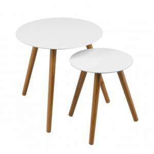 Nusakan Round Wooden Set Of 2 Nesting Tables In White Gloss