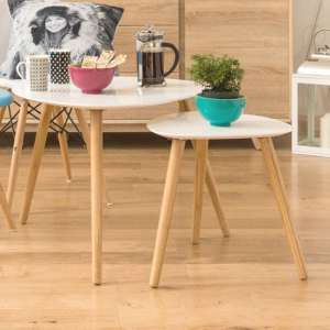Nusakan Traingular Set Of 2 Nesting Tables In White High Gloss