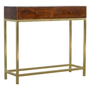 Nutty Wooden Console Table In Chestnut With Gold Iron Frame