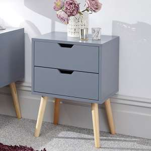Nyborg Wooden Bedside Cabinet In Dark Grey With 2 Drawers