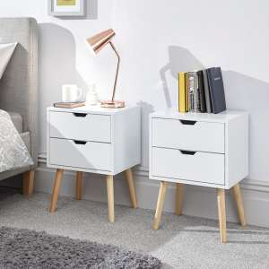Nyborg White Wooden Bedside Cabinet In Pair