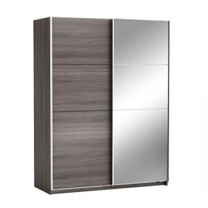 Oakley Mirrored Sliding Wardrobe In Vulcano Oak With 2 Doors