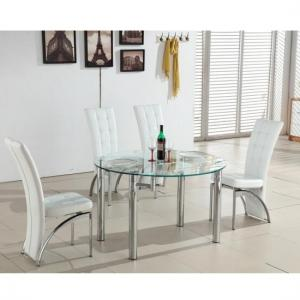 Oasis Round Extending Glass Dining Table And 4 White Chairs