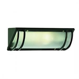 Oblong Outdoor Bulkhead Light In Black With Ribbed Diffuser