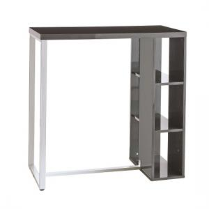Ocean Bar Table In Grey High Gloss With White Metal Legs