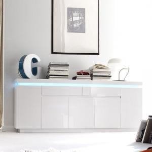 Odessa Large Sideboard 2 Drawer 5 Door Gloss White With LED