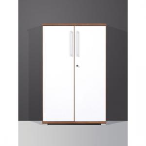 Vision 2 Door Lockable Walnut White Filing Cabinet