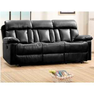 Ohio Recliner Bonded Faux Leather 3 Seater Sofa In Black