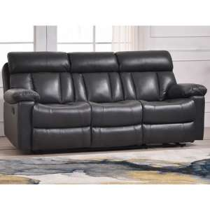 Ohio Recliner Bonded Faux Leather 3 Seater Sofa In Grey
