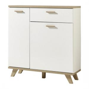 Ohio Wooden Shoe Storage Cabinet In White And Sanremo Oak