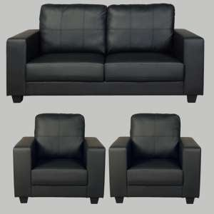 Okul Faux Leather 3 Seater Sofa And 2 Armchairs Suite In Black