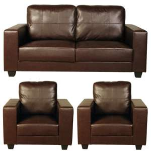Okul Faux Leather 3 Seater Sofa And 2 Armchairs Suite In Brown