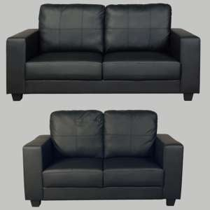 Okul Faux Leather 3 Seater Sofa And 2 Seater Sofa Suite In Black