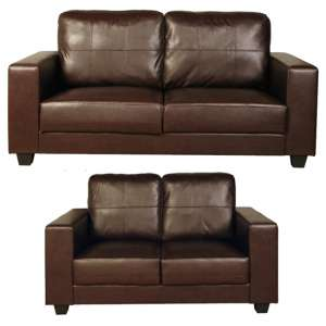 Okul Faux Leather 3 Seater Sofa And 2 Seater Sofa Suite In Brown