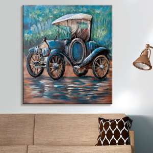Oldtimer Picture Metal Wall Art In Blue