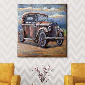 Oldtimer Picture Metal Wall Art In Brown