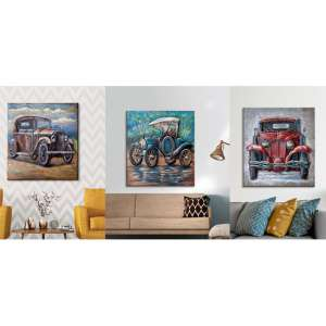 Oldtimer Picture Set Of 3 Metal Wall Arts In Multicolor