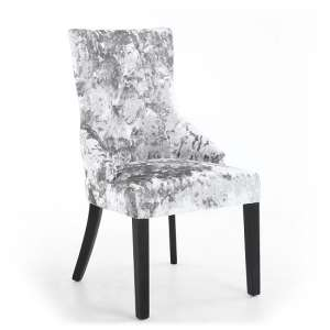 Olenna Accent Chair In Silver Crushed Velvet With Wooden Legs
