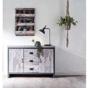 Olivares Sideboard In Grey With 3 Drawers And 2 Doors