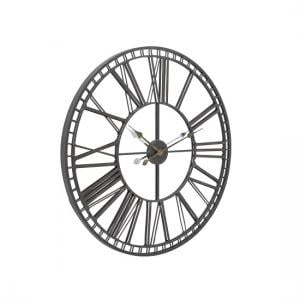 Oliver Wall Clock In Black Iron With Glass Front Panel