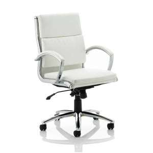 Olney Bonded Leather Office Chair In White With Medium Back