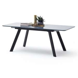 Omaha Extending Glass Dining Table In Grey