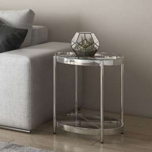 Omari Glass Side Table With Stainless Steel Base