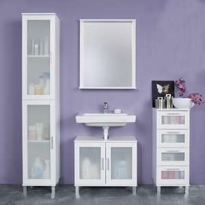 Onix Bathroom Furniture Set 2 In White And Glass Fronts