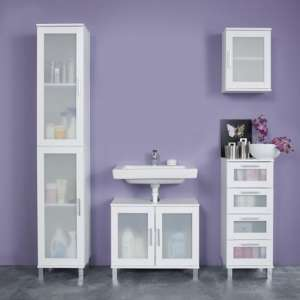 Onix Bathroom Furniture Set 3 In White And Glass Fronts