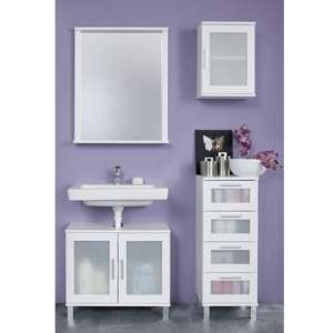 Onix Bathroom Furniture Set 5 In White And Glass Fronts
