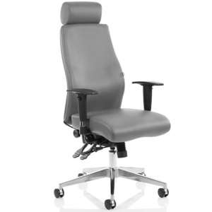 Onyx Ergo Leather Office Chair In Grey With Headrest And Arms