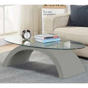 Opel Glass Coffee Table Oval In Clear With Grey High Gloss Base