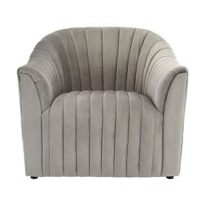 Larawag Grey Velvet Armchair With Natural Wood Feets
