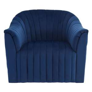Larawag Velvet Armchair In Deep Blue