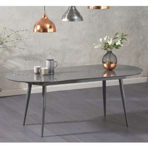 Opelsa Extending Wooden Dining Table In Grey High Gloss