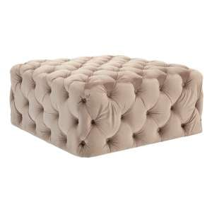 Libertas Velvet Button Tufted Footstool In Coffee
