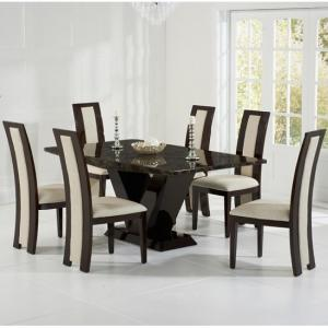 Ophelia Marble Dining Table In Brown With 6 Allie Cream Chairs