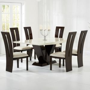 Ophelia Marble Dining Set In Cream And Brown With 6 Chairs
