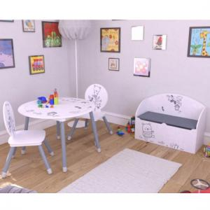 Optima Round Table And 2 Chairs In White And Grey_2