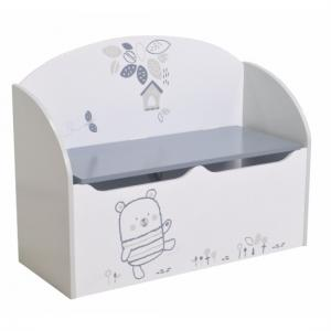 Optima Toy Box Cum Blanket Box In White And Grey