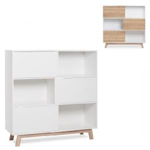 Optra Bookcase In Reversible White And Oak With 3 Sliding Doors