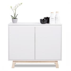 Optra Compact Sideboard In White And Oak Trim With 2 Doors_2