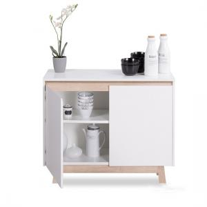 Optra Compact Sideboard In White And Oak Trim With 2 Doors_3