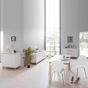Optra Compact Sideboard In White And Oak Trim With 2 Doors_6