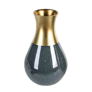 Opulent Ceramic Small Decorative Vase In Patrol Blue And Gold