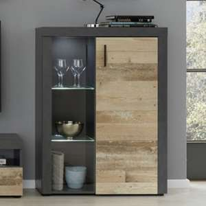 Opus LED Display Cabinet In Pale Wood And Matera