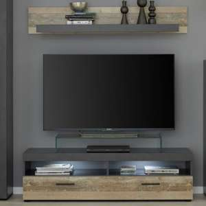 Opus LED TV Stand With Wall Shelf In Pale Wood And Matera