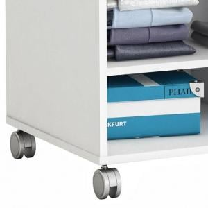 Opus Storage Unit In Pearl White And Grey Curtain With Rollers_2